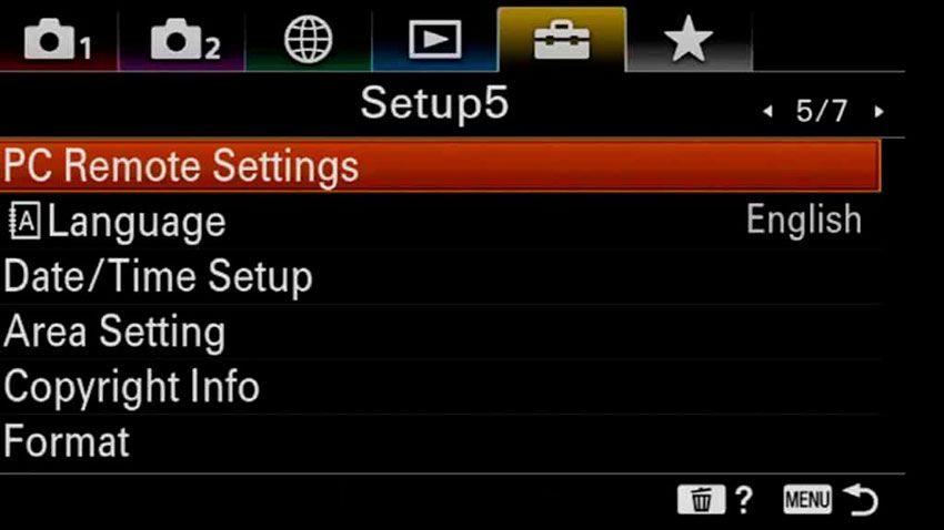 Menu Sony A6100