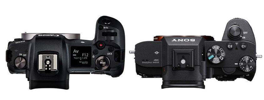 comparativa botones canon eos r y sony a7 III